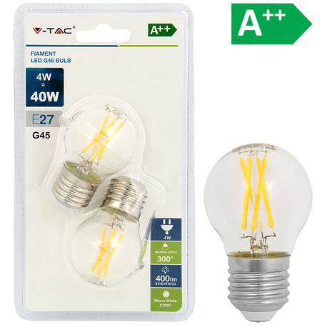LED-POLTTIMO 4W E27 2700K 400LM G45 2-PACK FILA