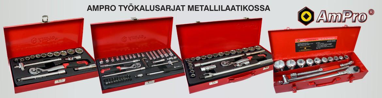 Ampron työkalusarjat metallilaatikossa